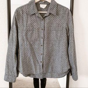 Polka dot chambray shirt